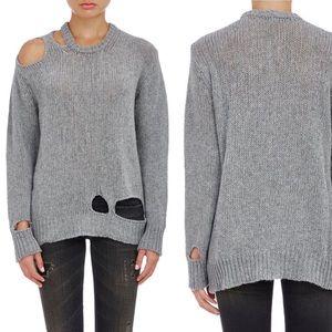 R13 | 100% Cashmere Ripped Rib Sweater Gray Medium
